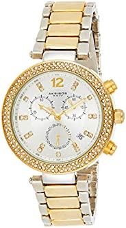 Akribos XXIV Women's Bling Chronograph Watch - Silver Diamond Crystal Sunburst Dial - Crystal Bezel - Silv