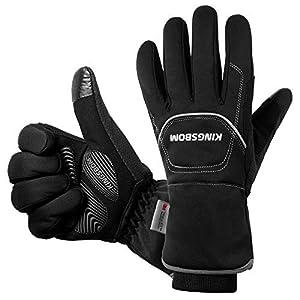 KINGSBOM Wasserdichte & Winddichte Handschuhe – 3M Thinsulate Winter Touch Screen Warme Handschuhe – zum Radfahren, Reiten, Laufen, für Outdoor-Sport – für Frauen und Männer – Schwarz