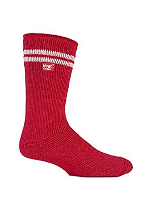 Authentique d'hiver thermique Heat Holders Chaussettes de Football/Rugby Supporters Taille 6–11uk Rouge à rayures blanches)