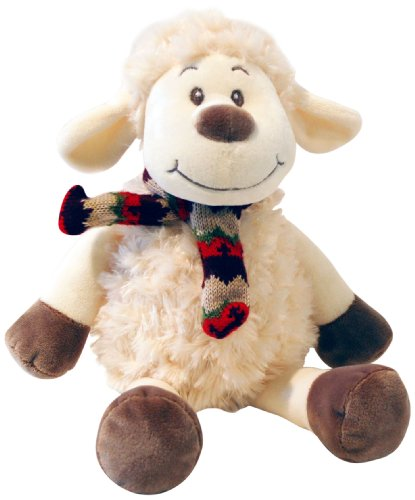 Heitmann Deco - lustiges Schaf aus Plüsch und Chenille mit Schal - süßes Plüschtier - ein echtes Herzstück - - Plüsch-schals
