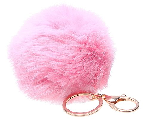 Price comparison product image LIFECART Novelty Rabbit Fur Ball Gold Plated Charm Key Chain for Car Key Ring Bag-Pink