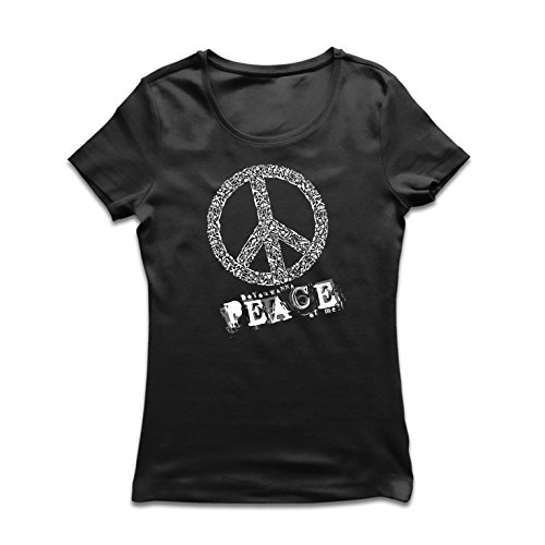 lepni.me T Shirts for Women Do You Wanna Piece of Me - Peace Slogan, 60s 70s Hippy Hippie Festivals, Hipster Swag