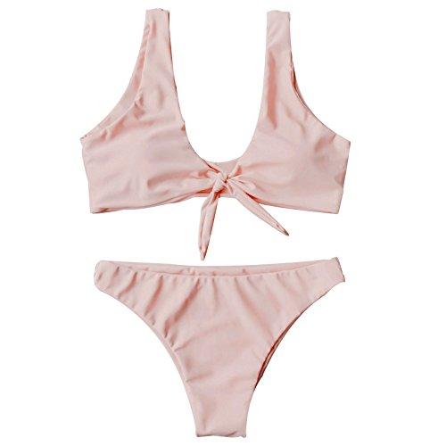 Kata bikini talle alto mujer Traje de Baño dos Piezas ropa de playa Color Vario(Rosa1,L)