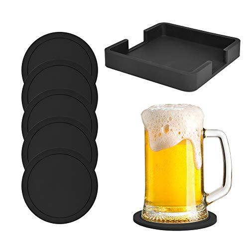 Posavasos de silicona para bebidas, protección antideslizante, juego de 6 con soporte, negro, multiusos: remache, abridor de tarros, dispensador de jabón, protector para bebidas, evita marcas de agua