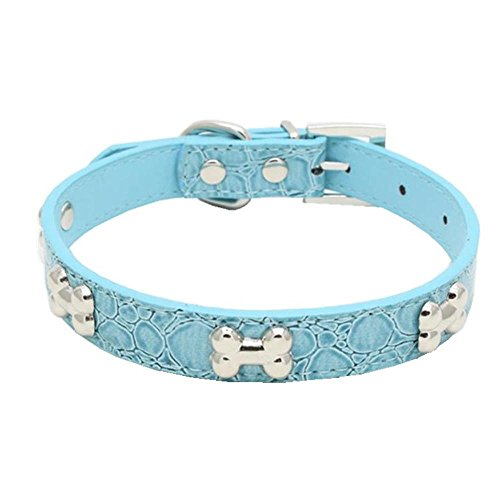 Haustier Halsband erthome Exquisite verstellbare Schnalle Metall Knochen Hund Welpen Haustier Halsbänder (S (37 x 1.5CM), Himmelblau) -