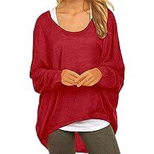 2904a89110ffd8 Meyison Damen Lose Asymmetrisch Sweatshirt Pullover Bluse Oberteile  Oversized Tshirt Strickpullover