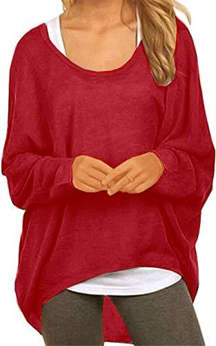 Meyison Damen Lose Asymmetrisch Sweatshirt Pullover Bluse Oberteile Oversized Tops T-Shirt Wein Rot XL - Baumwolle Pullover Pullover