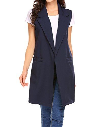 Finejo Damen Lang Revers Duster Trench Weste Cardigan Ärmellos Casual Blazer Top Jacket Mantel Outwear mit Taschen