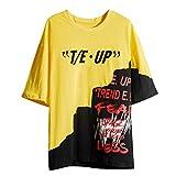 RYTEJFES Camiseta Hip-Hop Hombres Manga Corta Round Cuello Tops Casual Blusa Suelto Camisa Tallas Grandes Transpirable Estampado Cráneo Ropa de Deporte para Casa Vacaciones Trekking