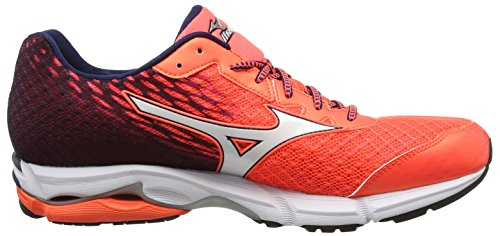 Mizuno Wave Rider 19, Chaussures de Running Compétition Homme Rouge (Fierycoral/White/Dressblues)