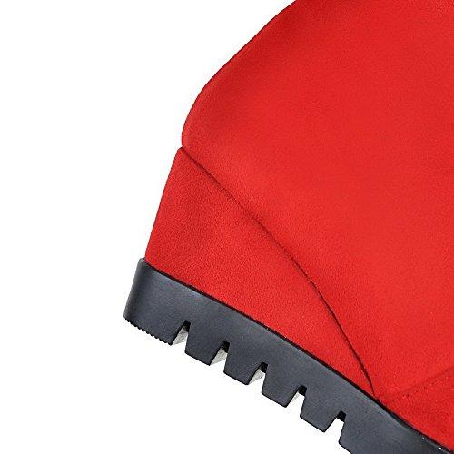 Tire Bottes Haut Couleur à Unie Talon AgooLar Rouge Rond Femme qxPt0t8
