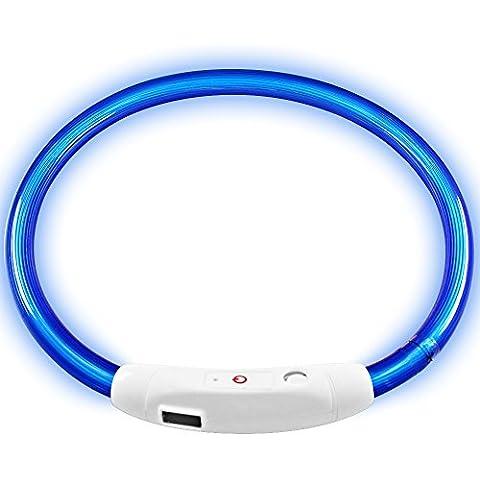 Perro casero llevó el collar, collar MAXIN Led USB recargable seguridad del animal doméstico impermeable luz hasta 50cm de longitud (19.5in) Collar ajustable Intermitente (azul)