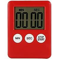 Houkiper pantalla LCD digital Temporizador de cocina cuadrado temporizador de cocina cuenta regresiva alarma de cuenta regresiva con imán (rojo)