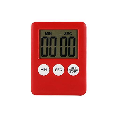Houkiper Digital LCD Bildschirm Küche Timer Platz Kochen Timer Countdown Countdown Alarm mit Magnet (rot) -