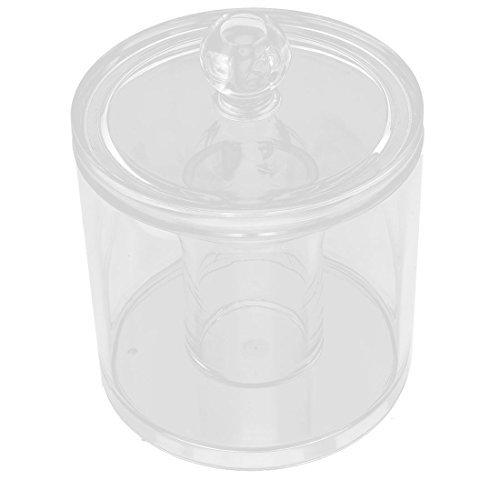 Dealmux Acrylique Forme ronde cotons-tiges Maquillage Crayon support organiseur de boîte à bijoux clair