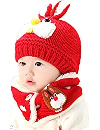 b66f89cf157 Baby Boys Girls Cute Wool Knitted Beanie Hat Neck Warmer Scarf Set Infant  Toddler Bunny Beanie Hat Crochet Hat Collar Scarf Winter Thermal…