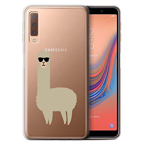 eSwish Gel TPU Hülle/Case für Samsung Galaxy A7 2018/A750 / Coole Sonnenbrille Muster/Süßes Alpaka Kollektion