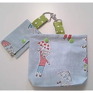 Futterbeutel und kleine Tasche mit Hunde und Katzen Motiv Handarbeit Handmade