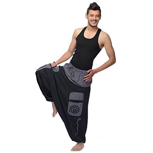 Haremshose Pumphose Aladinhose Pluderhose Yoga Goa Sarouel Baggy Aladin Freizeithose Simandra Herren (Braun, S/M) - Bild 5