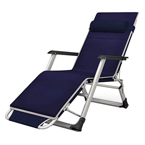 Sedie a sdraio semplice reclinabile per esterni elegante sedia da spiaggia in alluminio letto pieghevole estivo sedia a sdraio per casa poltrona reclinabile per ufficio (color : blue)