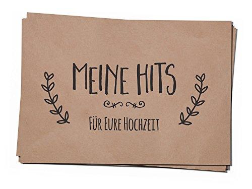 50 Musikwunschkarten A7 Musikwunsch Hochzeit Hochzeitsfeier DJ Karten Kraftpapier Naturbraun Simple Vintage (Party Die Karten Auf Dem Tisch)