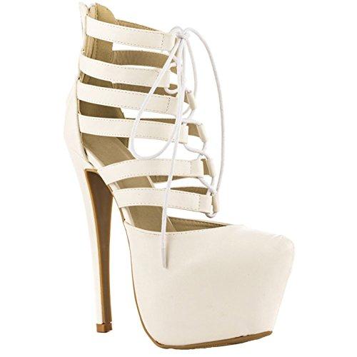 Moda Sandália Salto De Partido 14 Kolnoo Centímetros Cruz Verão 5 Prom Plataforma Sapatos Criss Senhoras Branco Sexy Fx8ZwYXF