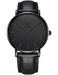 Alienwork IK All Black Quarz Armbanduhr elegant Quarzuhr Uhr modisch Zeitloses Design klassisch schwarz Leder 98469L-03