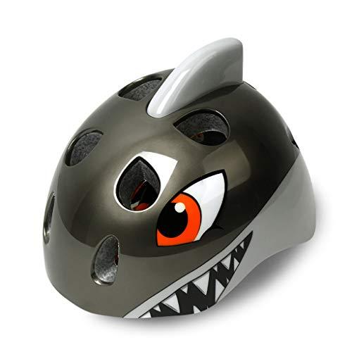 JiaoLiao Fahrradhelm Kinder Skating Schutzausrüstung Balance Auto Bike Boy Mädchen Kind Schutzhelm Ausrüstung Einteiliges Kind 3D Tier Helm (Farbe : Grey Shark)