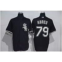 YQSB Personalizada Camiseta Deportiva Baseball Jersey Camiseta De Manga Corta De Punto De Béisbol 79 Abreu Cardigan De White Sox,Blue,Men-M