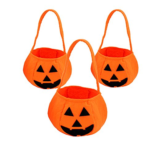 DELEY 3pcs Halloween Goodys Borsa di Zucca Dolcetto o scherzetto Borsa Bambini Caramelle Tote Borsa Regali del Partito Modello A zucca