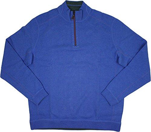 Tommy Bahama New Flip Side Pro Reversible Half Zip Sweater (Medium, Campanula Heather) Tommy Bahama Reversible Sweatshirt
