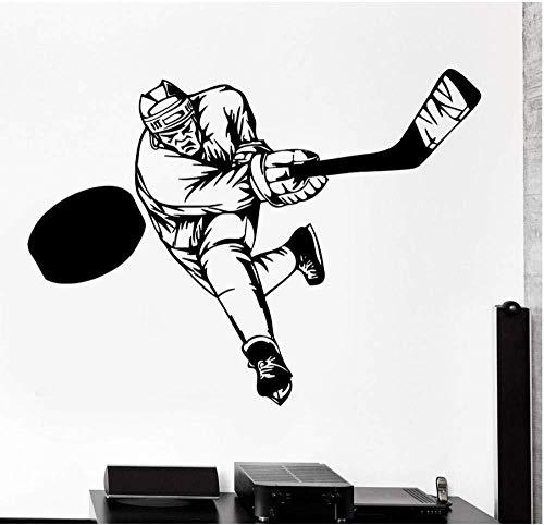 Wandaufkleber sport hockey schläger wandtattoos wohnzimmer tv wand schlafzimmer kinderzimmer küche bad büro dekoration wandbild top vinyl 56x75 cm