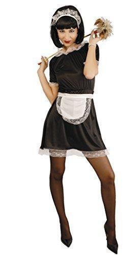 Schürze Haushälterin (Damen Sexy Französisches Dienstmädchen Haushälterin Rocky Horror Kostüm kostüm UK 14-16-18 - Schwarz - Schwarz, Damen, 42-46, Schwarz)