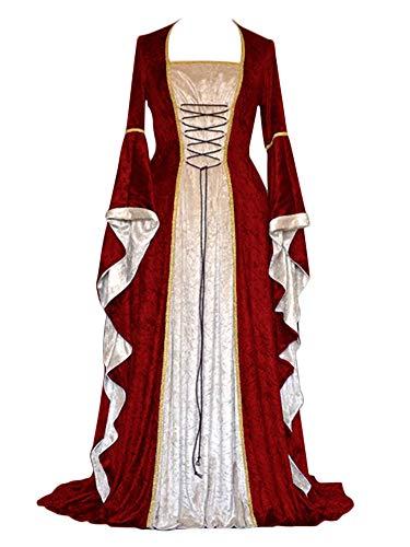 ZhuiKunA Damen Retro Mittelalter Renaissance Kostüm,Lange Ärmel Party -