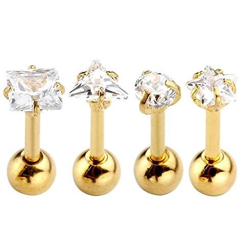 PiercingJ - 4PCS Mixtes Boucle Clou d'Oreille Tragus Cartilage Helix Haltere Barbelle Zircon Cristal Acier Inoxydable Bijoux de Corps Beaute 4mm -