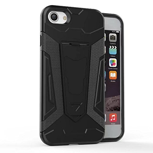 Neue Rüstung Tough Hybrid Dual Layer Rüstung Defender PC Hard Shell Cover mit Kickstand [Shockproof Case] Für iPhone 7 Plus ( Color : Gray ) Black