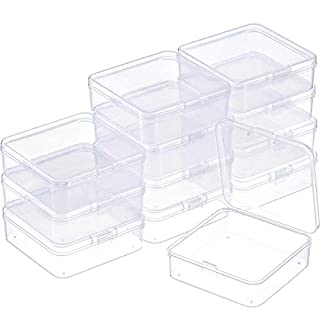 SATINIOR 12 Pack Small Rectangle Clear Plastic Containers Box with Hinged Lid Bead Storage Box Case(2.9 x 2.9 x 1 Inch)
