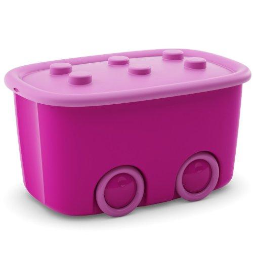 Spielzeugkiste Schatztruhe Aufbewahrungskiste 46 Liter (1, Pink)