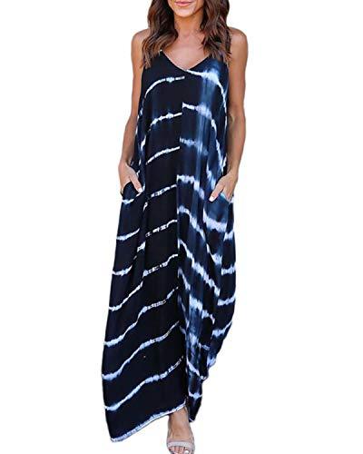 6484e5693a0276 Kidsform Maxikleid Damen Sommer Strandkleid Lange V-Ausschnitt Ärmellose  Kleider Oversize Lange Freizeitkleid