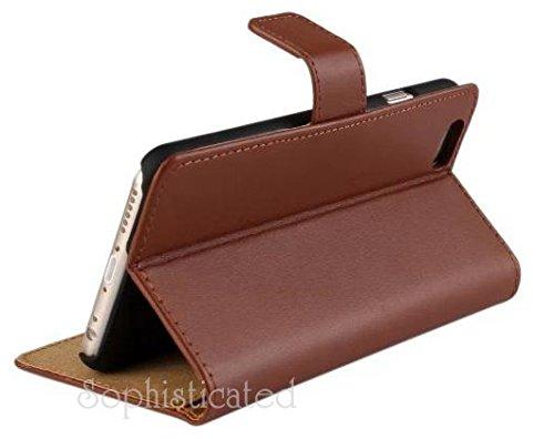 iPhone 6 plus Brown aufklappbares Tasche braun Etui echtes Leder Hülle Case Flip Schutzhuelle seitlich dünn Slim Smartphone Apple Magnetverschluss