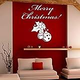 62X57 cm Frohe Weihnachten Schriftzug Muster Glocke Wandaufkleber für Shop Quote Art Dekoration für Urlaub Vinyl Aufkleber Hause L599