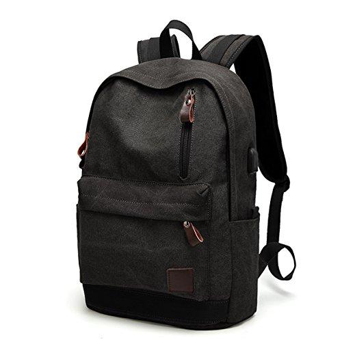 Retro Schulrucksack,Gracosy Canvas Rucksack USB Damen Herren Segeltuch Reiserucksack Laptoprucksack Daypack Casual Backpack mit...