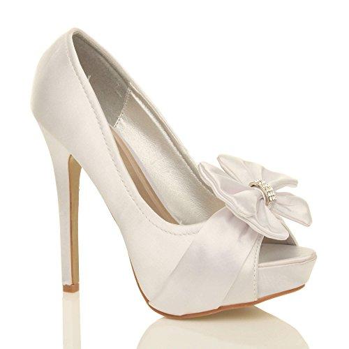 Ajvani Femmes soirée élégant nœud talon haut bout ouvert chaussures plateforme pointure Satin blanc