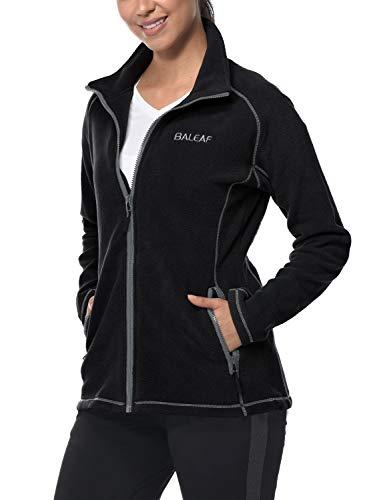 BALEAF Damen Fleece-Jacke mit durchgehendem Reißverschluss Thermal Lauf Outwears Innentaschen Mittel Schwarz -