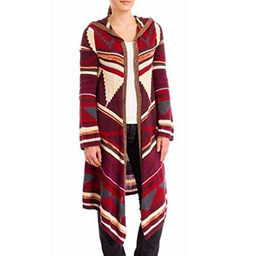 AMUSTER Le Donne Geometrico Stampato Lungo Manica Hooded Kimono Cardigan Cappotto Coprire Fino Cime (S)