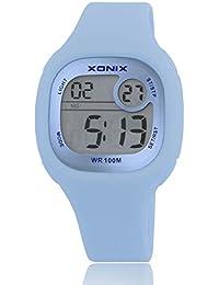 Reloj electrónico digital de múltiples funciones de los ni?os,Jalea led 100 m resina resistente al agua correa alarma cronómetro hora dual chicas o chicos moda reloj de pulsera-A