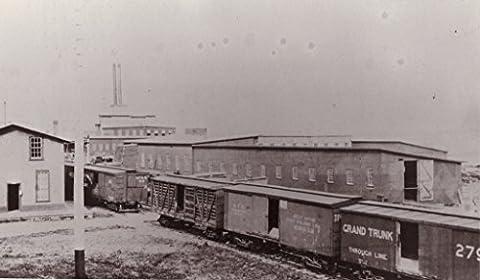 POSTER Rathbun Company railway car works Deseronto Ontario c.1891 looking towards southeast cedar mill background Grand Trunk railway cars foreground. Deseronto eastern Ontario Canada Wall Art Print A3 replica