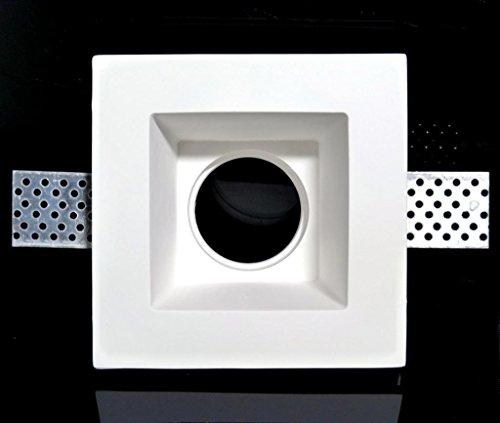 comprare on line KingLed - Portafaretto da Incasso in Gesso Quadrato Alto per Faretti GU10 e MR16, Dimensioni 120 x 120 Millimetri, cod. 0628 prezzo