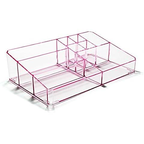 Boxalls Organizzatore Trucchi Trasparente in Acrilico con Scompartimento Alex Gioielli & Slot Cosmetici (Rosa Trasparente)