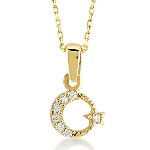 Damen Halskette 14 Karat / 585 Gelbgold Stern und Mond als Anhänger | 14k Gold Ayyildiz Necklace | Kettenlänge 45cm